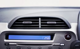 Car air conditioner in the front interior passenger for adjust a. Irflow, selective focus, Automotive part concept Royalty Free Stock Photo