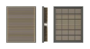 Car air filter. Front, side and back view of a car air filter, isolated on white background Royalty Free Stock Photography