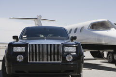 Car And Airplane At Airfield royalty free stock images