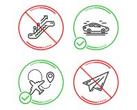 Car, Airplane and Escalator icons set. Paper plane sign. Transport, Plane, Elevator. Airplane. Vector. Do or Stop. Car, Airplane and Escalator icons simple set stock illustration
