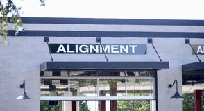 Car Alignment Shop. An automobile repair and alignment shop where cars can be repaired after an accident and have their alignment check and repaired Stock Photos