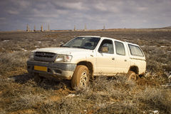 Car all terrain. Road vehicle work in the steppe Betpakdala, where there are no roads Royalty Free Stock Photos