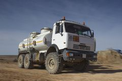 Car all terrain. Road vehicle work in the steppe Betpakdala, where there are no roads Stock Images