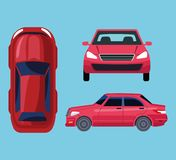 Car all views icon cartoon. Car top, front and size views icon cartoon vector illustration graphic design royalty free illustration