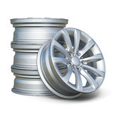 Car alloy tyre rims isolated on white background Stock Photography