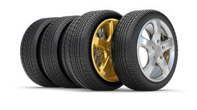Car alloy wheel gold Stock Photo