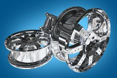 Car Alloy Wheels. Chromed Car Alloy Wheels on Blue Background. Three Chrome Alloy Wheels. 3D Render Illustration vector illustration