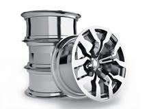 Car alloy wheels. Over white - 3d render vector illustration