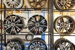Car alloy wheels. On shelf royalty free stock image