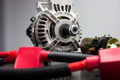 Car alternator and cables/ Auto parts royalty free stock photos