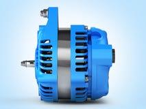 Car alternator side view on blue gradient background 3D royalty free illustration