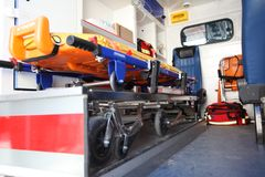 Car ambulance space. Inside of car ambulance space Stock Photos
