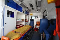 Car ambulance space. Inside of car ambulance space Royalty Free Stock Images