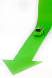 Car and  arrow. Geen car and down arrow Stock Images