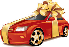 Car as a gift. Vector illustration of a gift wrapped red car as a gift. Illustration isolated on white background Stock Photos