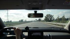 Car on asphalt motorway in countryside stock video