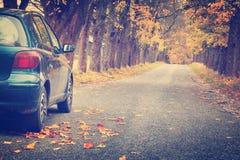 Car on asphalt road in autumn Stock Photos
