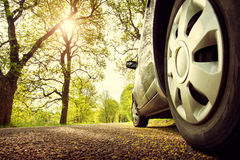 Car on asphalt road in spring royalty free stock photos