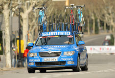 Car assistance car of Argos Shimano Team. During the Tour of Catalonia cycling race through the streets of Monjuich mountain in Barcelona on March 24, 2013 Stock Photos