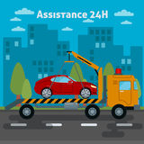 Car Assistance. Roadside Assistance Car. Tow Truck Royalty Free Stock Photo