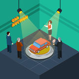 Car Auction Isometric Stock Photo