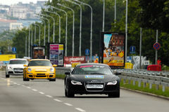 CAR AUDI R8, PORSHE GT3, AUDI TT SPORT. BELGRADE-JUNE 26 : CITY OF BELGRADE 24h RACE,500km PREMIERE EDITION,CAR AUDI R8,PORSCHE GT3 AND AUDI TT SPORT on work out Royalty Free Stock Photography