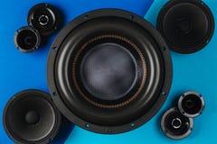 Free Car Audio, Car Speakers, Black Subwoofer On A Blue- Light Blue Background Stock Images - 193083154