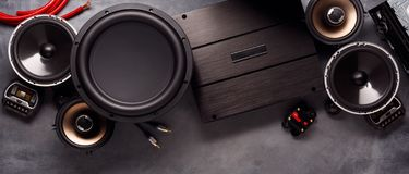 Free Car Audio, Car Speakers, Subwoofer And Accessories For Tuning Royalty Free Stock Photography - 166925047