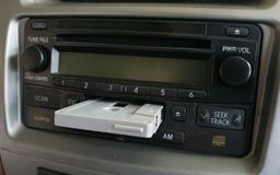 Car Audio with Cassette Tape on it. A Car Audio with Cassette Tape on it royalty free stock image