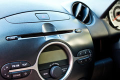 Car audio control panel. Audio control panel in modern sub compact car royalty free stock images