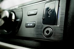 Car Audio external connection USB AUX. Car Audio external connection USB and AUX stock image