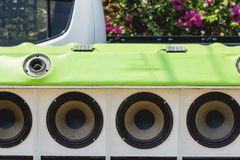 Car Audio. Show systems Installation stock photo