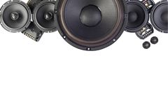 Car audio with speakers. Car audio, car speakers. White background. Stereo; bass royalty free stock images