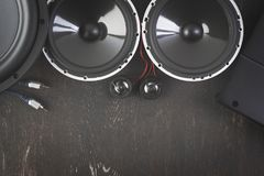 Car audio with speakers. Car audio, car speakers. White background. Stereo; bass stock images