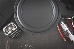 Car audio with speakers. Car audio, car speakers. White background. Stereo; bass royalty free stock photography