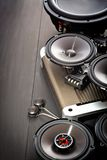 Car audio with speakers. Car audio, car speakers. White background. Stereo; bass stock image