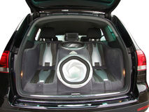 Car audio system. Backside of car with luxury audio-system royalty free stock photos