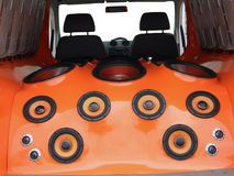 Car audio system. Car interior with luxury audio system stock images