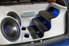 Car audio system. Backside of car with power audio system royalty free stock photos