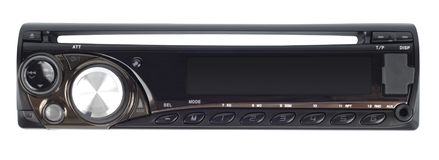 Car Audio System. Modern car audio system isolated with clipping path over white stock photos