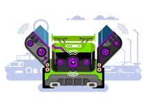 Car audio system. Music automobile, sound technology, stereo power speaker, flat illustration royalty free illustration