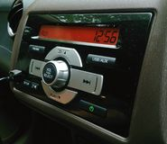 Car audio system on face panel Stock Photos