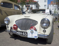 The car Austin-Healey-100 Le Man`s 1955 full-face closeup Royalty Free Stock Image
