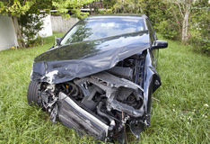 Car after an auto accident reveals damage Royalty Free Stock Image