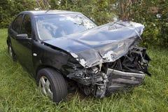 Car after an auto accident reveals damage Stock Photos