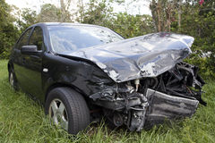 Car after an auto accident reveals damage Stock Photography
