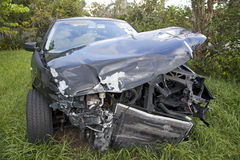 Car after an auto accident reveals damage Stock Images