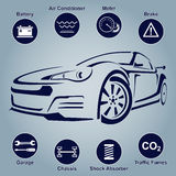 Car Auto Service Abstract Lines. Design elements with mechanical parts icons. Vector illustration Stock Image