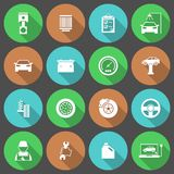 Car Auto Service Icons Set. Of tires parts engine oil repair and tools isolated vector illustration Stock Images