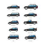 Car or automobile body type names vector flat isolated icons set. Car or automobile body types set with names of sedan, SUV or sport coupe wagon, compact pickup Stock Images